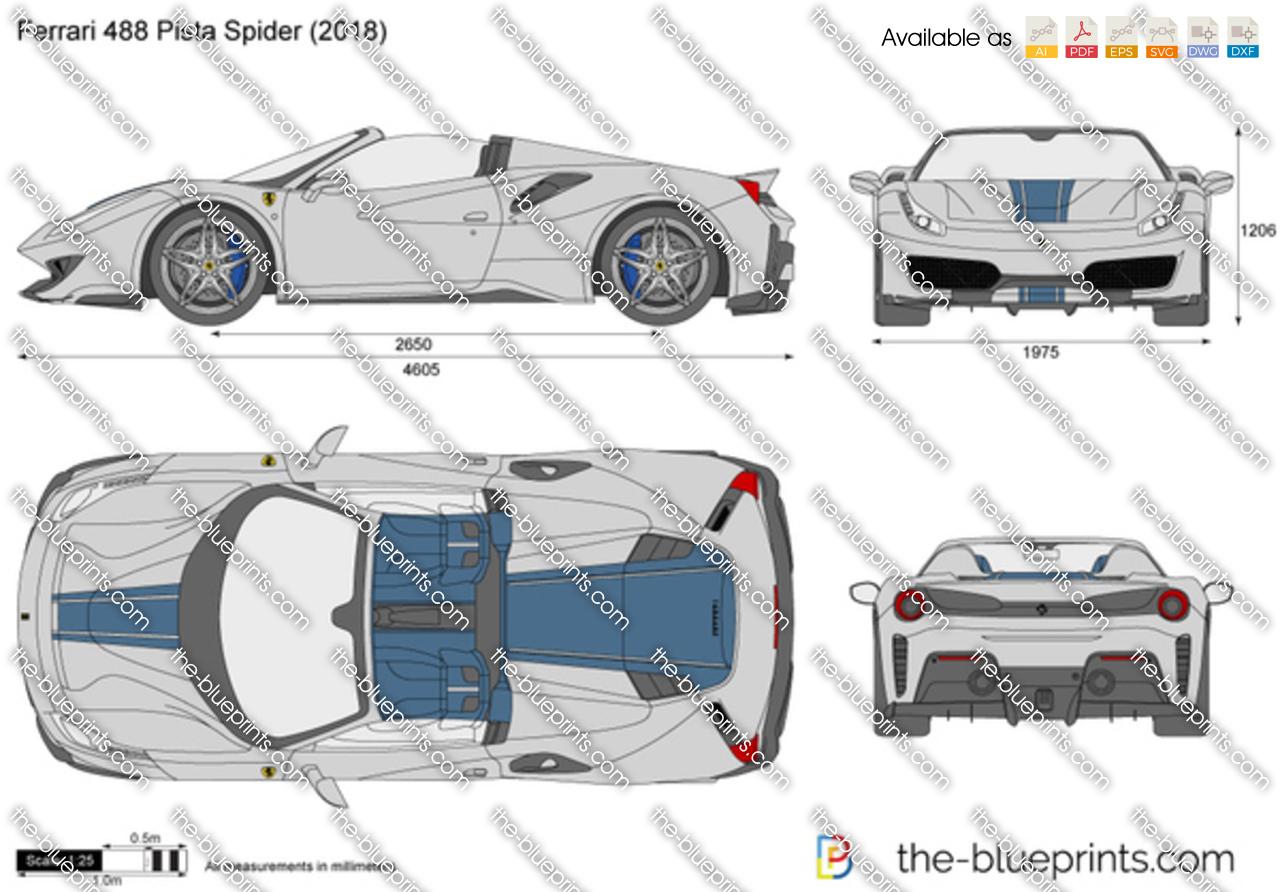 Hellcat Challenger For Sale >> Ferrari 488 Pista Spider vector drawing