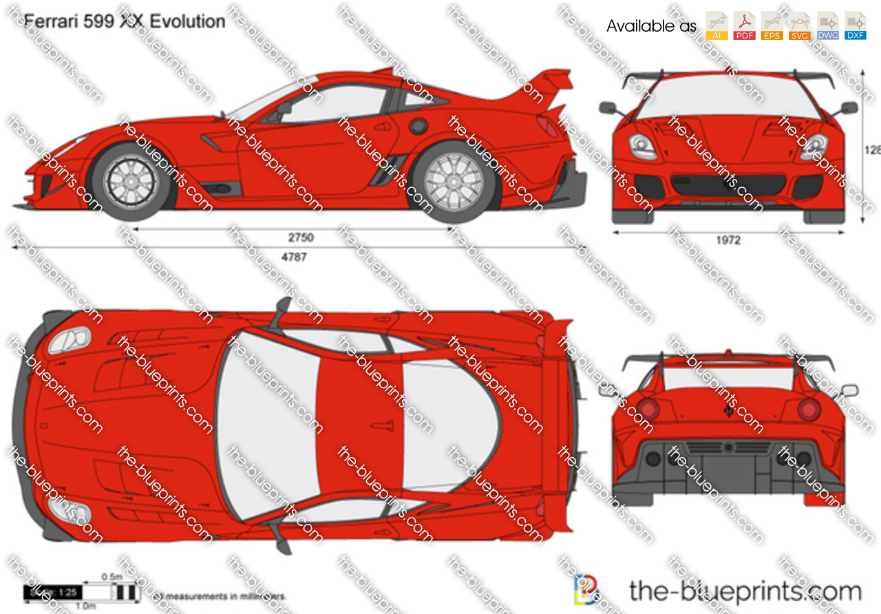 Ferrari 599 XX Evolution vector drawing