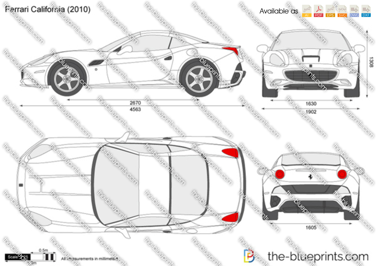The-Blueprints.com - Vector Drawing - Ferrari California: https://www.the-blueprints.com/vectordrawings/show/649/ferrari...