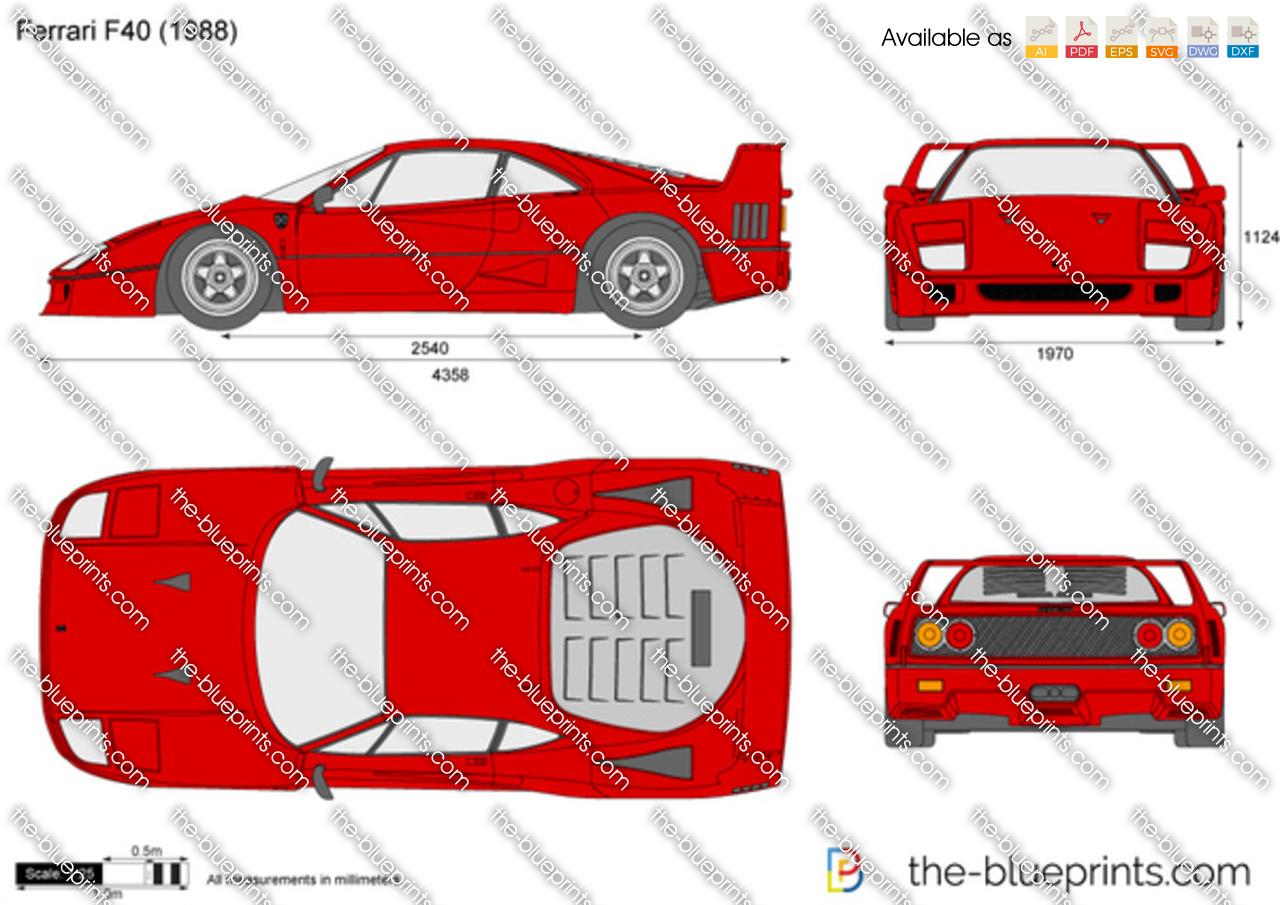 Ferrari F40 Vector Drawing