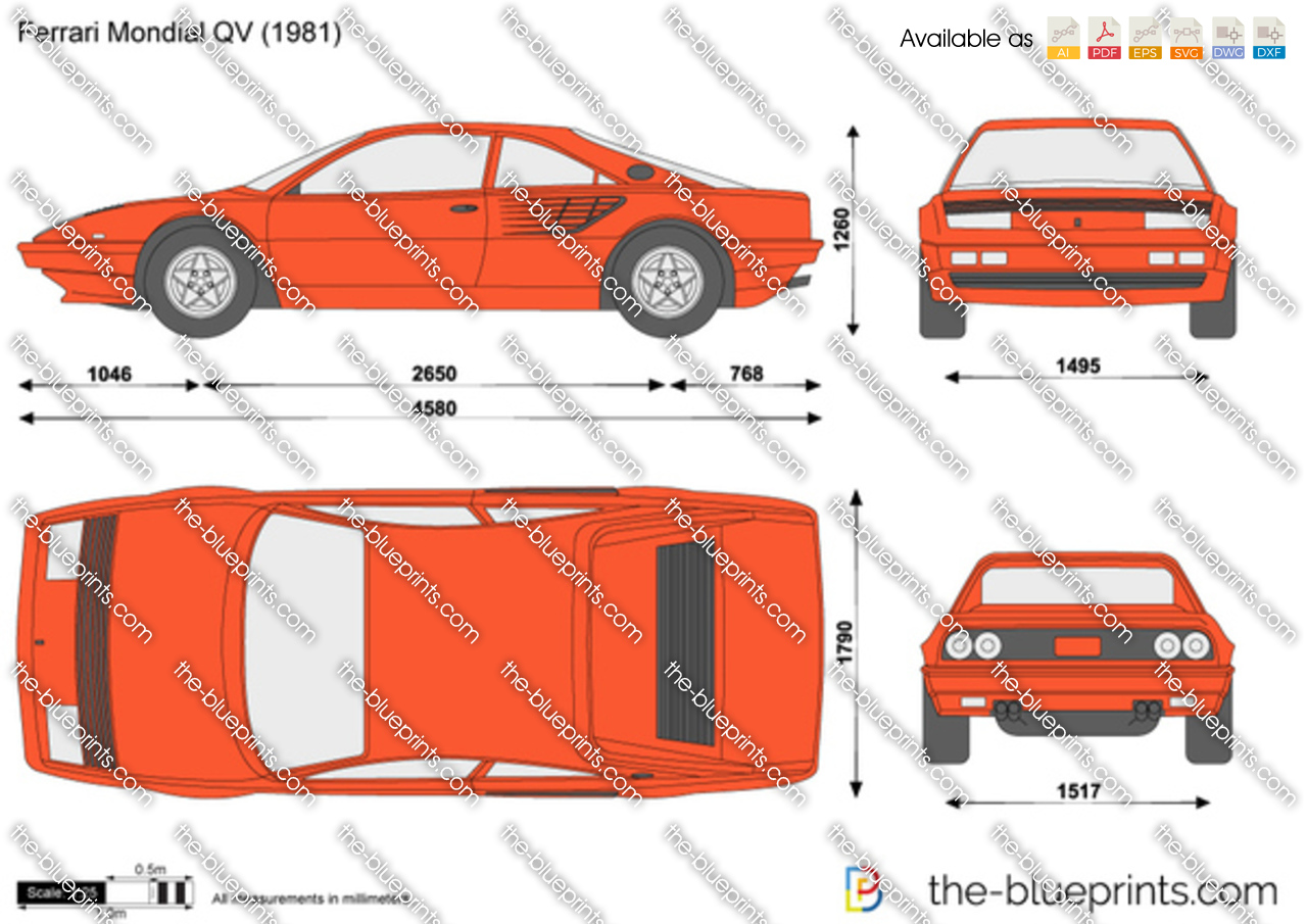 Ferrari Mondial Qv Vector Drawing