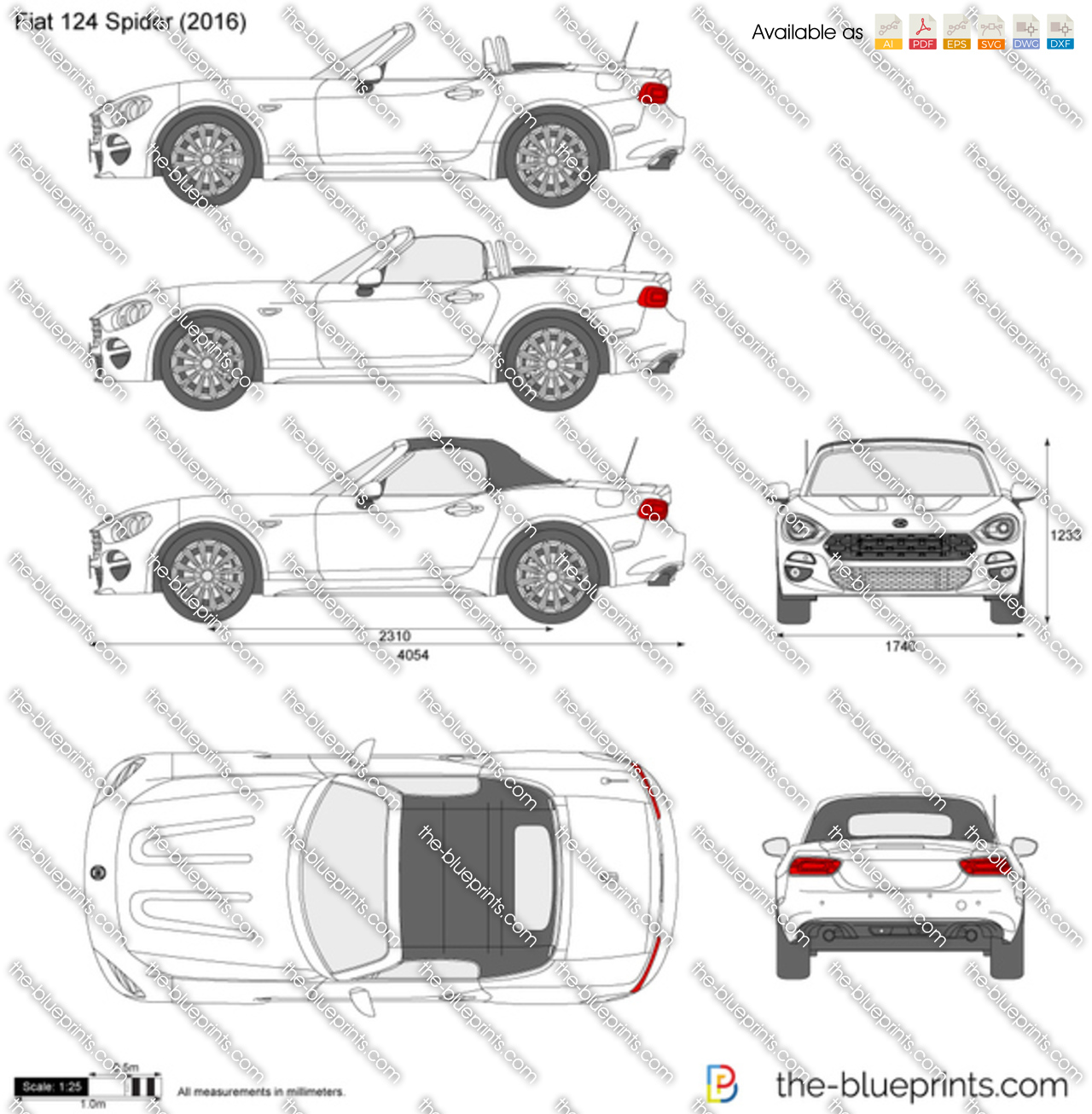 Fiat 124 Spider Vector Drawing