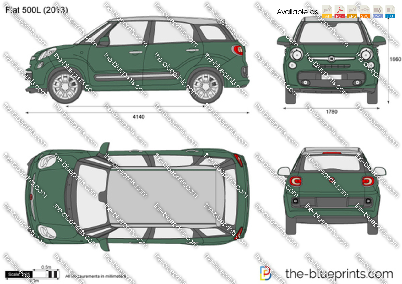 the vector drawing fiat 500 l. Black Bedroom Furniture Sets. Home Design Ideas