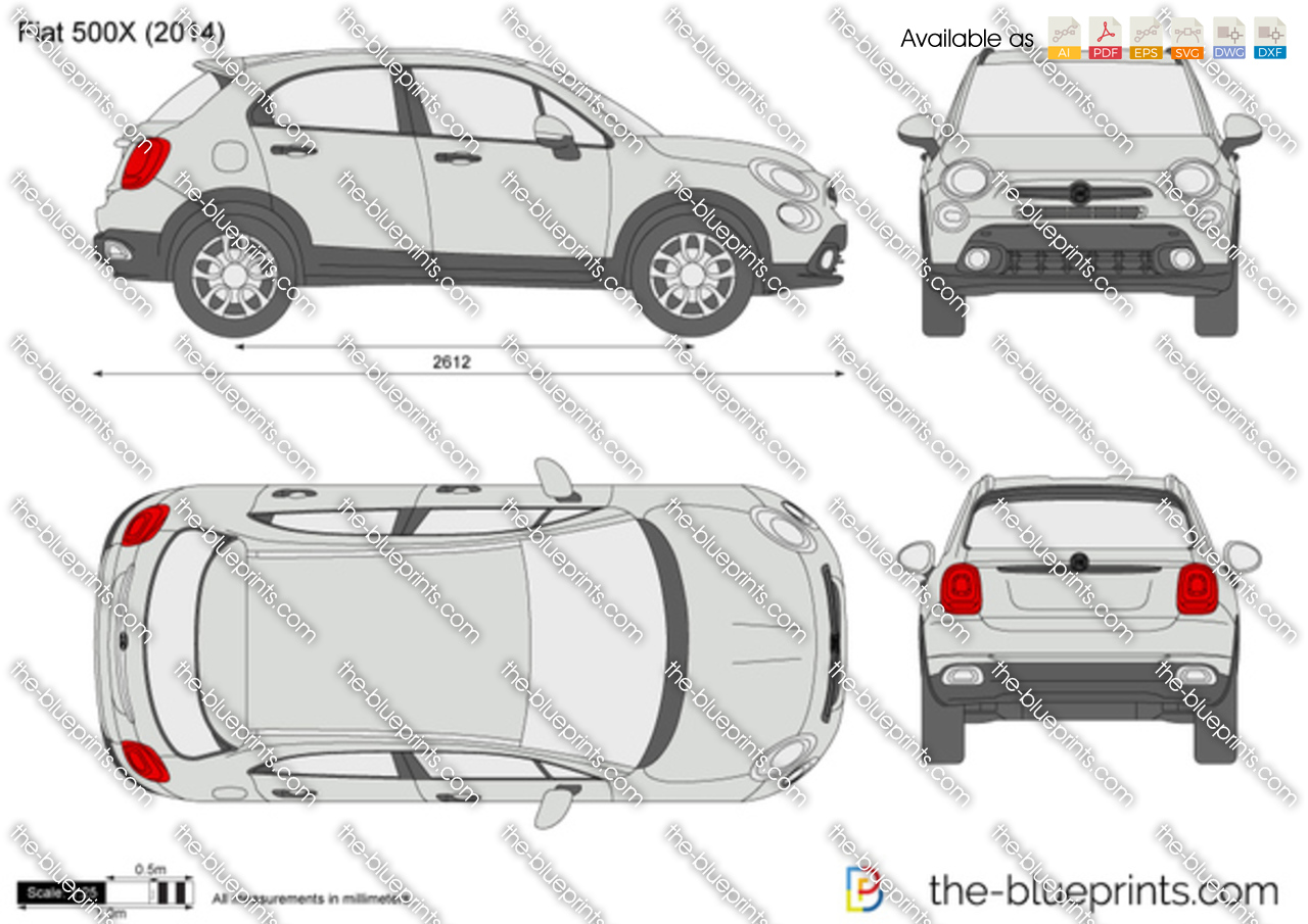 fiat 500x vector drawing
