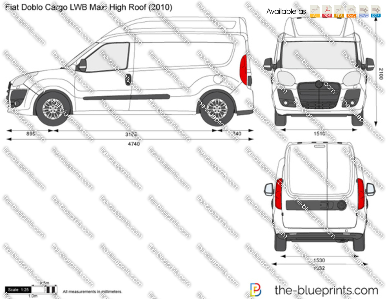 the vector drawing fiat doblo cargo lwb maxi high roof. Black Bedroom Furniture Sets. Home Design Ideas