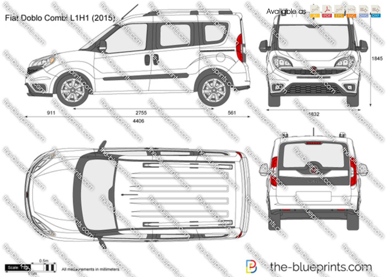 fiat doblo combi l1h1 vector drawing. Black Bedroom Furniture Sets. Home Design Ideas
