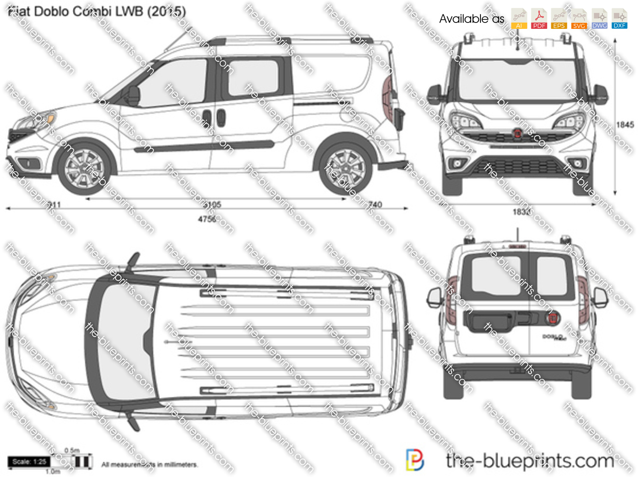 the vector drawing fiat doblo lwb combi maxi. Black Bedroom Furniture Sets. Home Design Ideas
