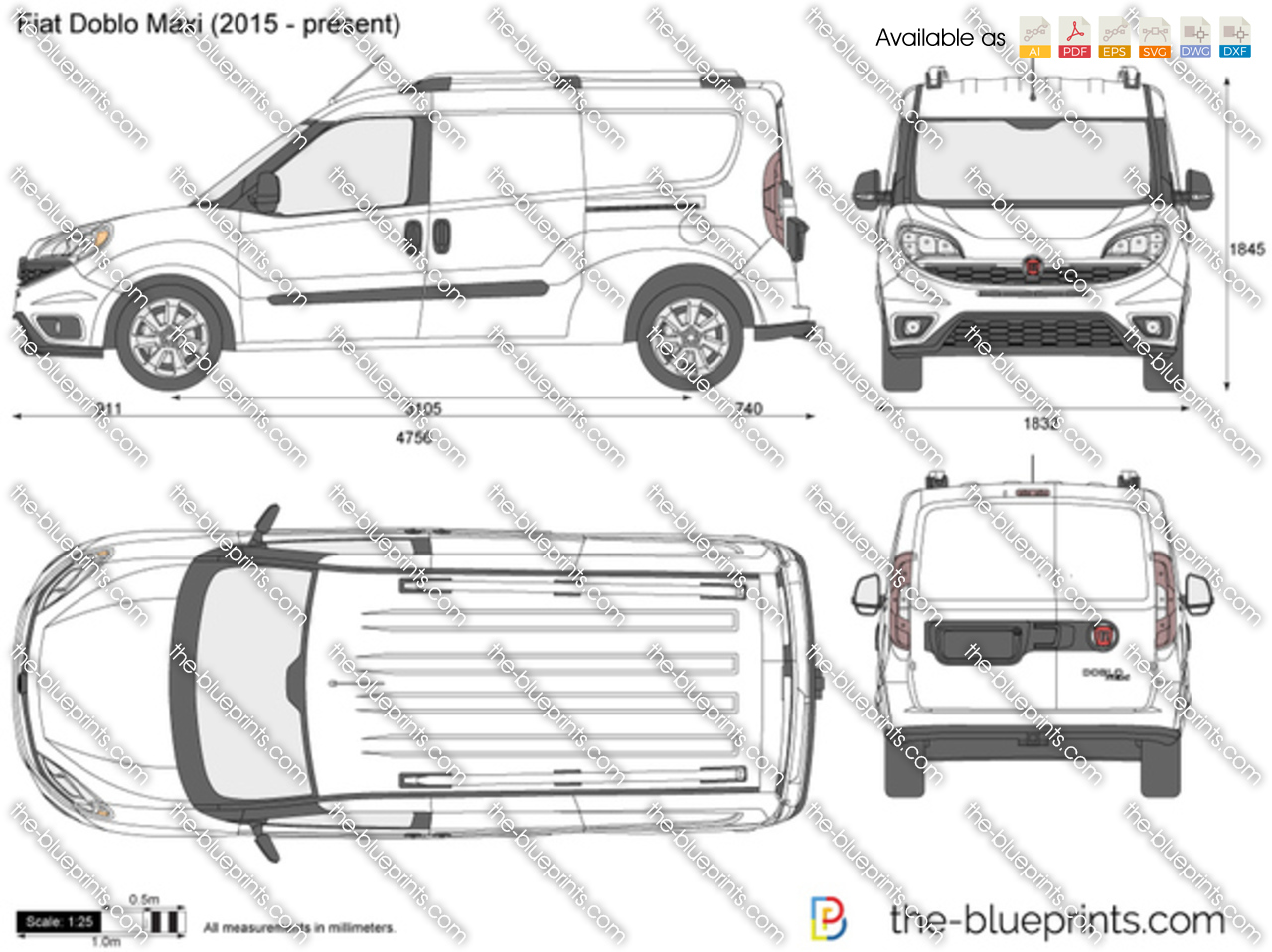 the vector drawing fiat doblo lwb maxi. Black Bedroom Furniture Sets. Home Design Ideas