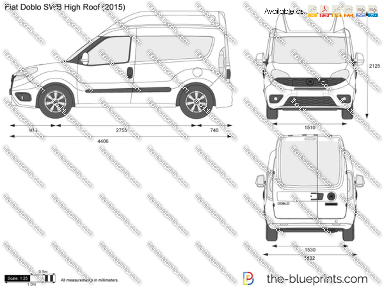 Fiat Doblo Swb High Roof Vector Drawing