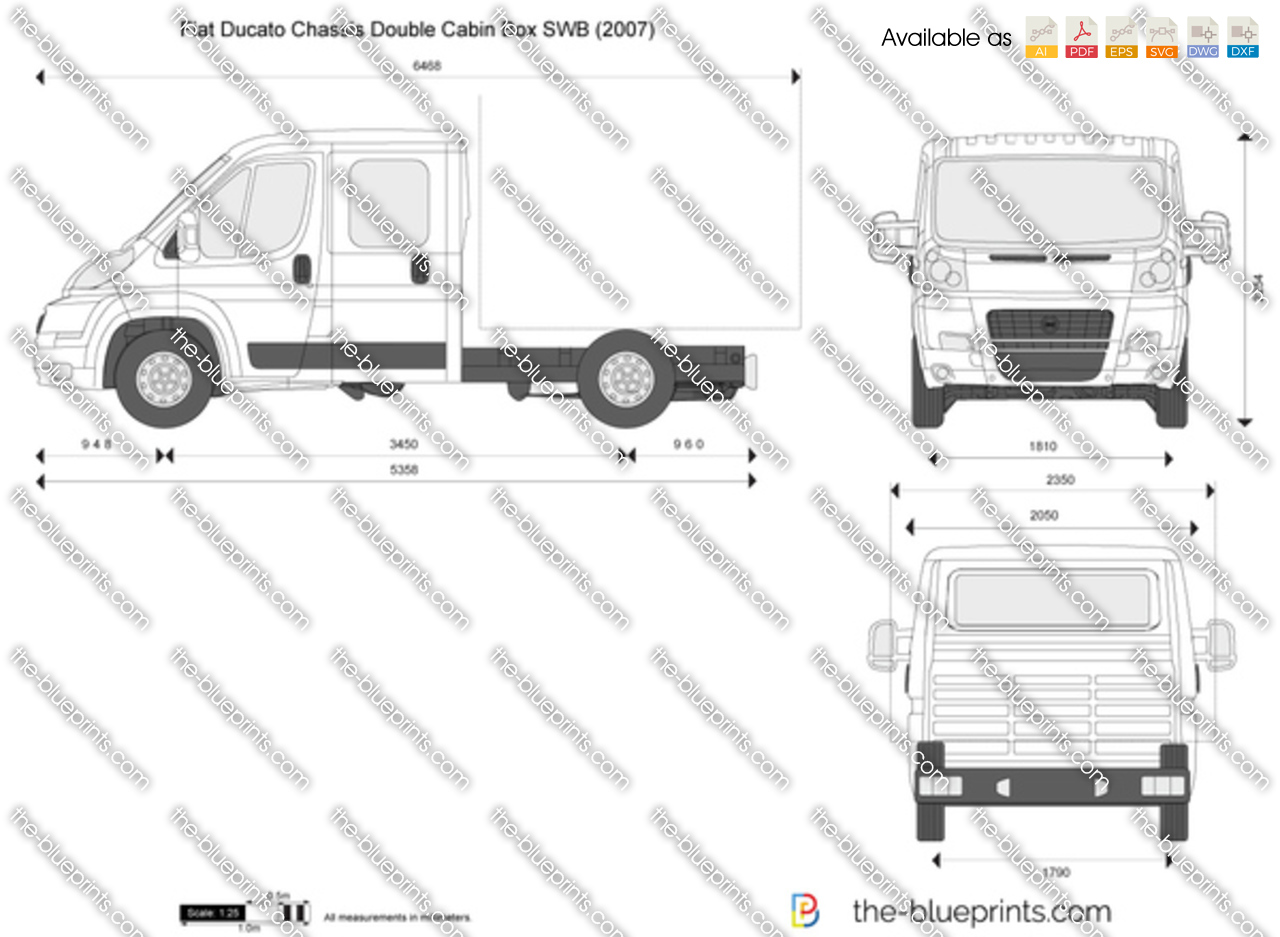 fiat ducato chassis double cabin box swb vector drawing. Black Bedroom Furniture Sets. Home Design Ideas