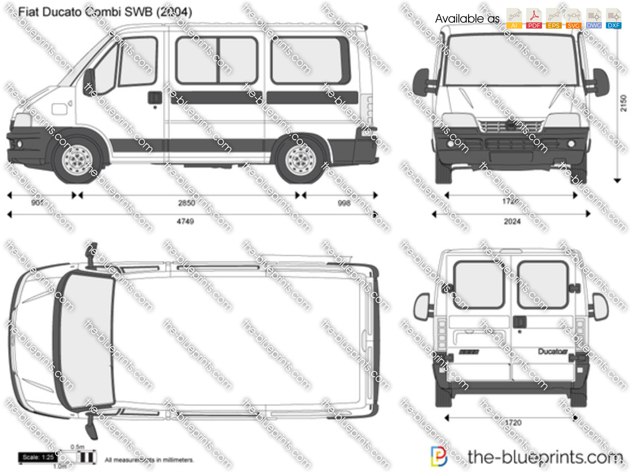 the vector drawing fiat ducato combi swb. Black Bedroom Furniture Sets. Home Design Ideas