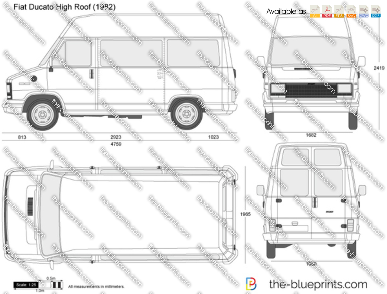 the vector drawing fiat ducato high roof. Black Bedroom Furniture Sets. Home Design Ideas