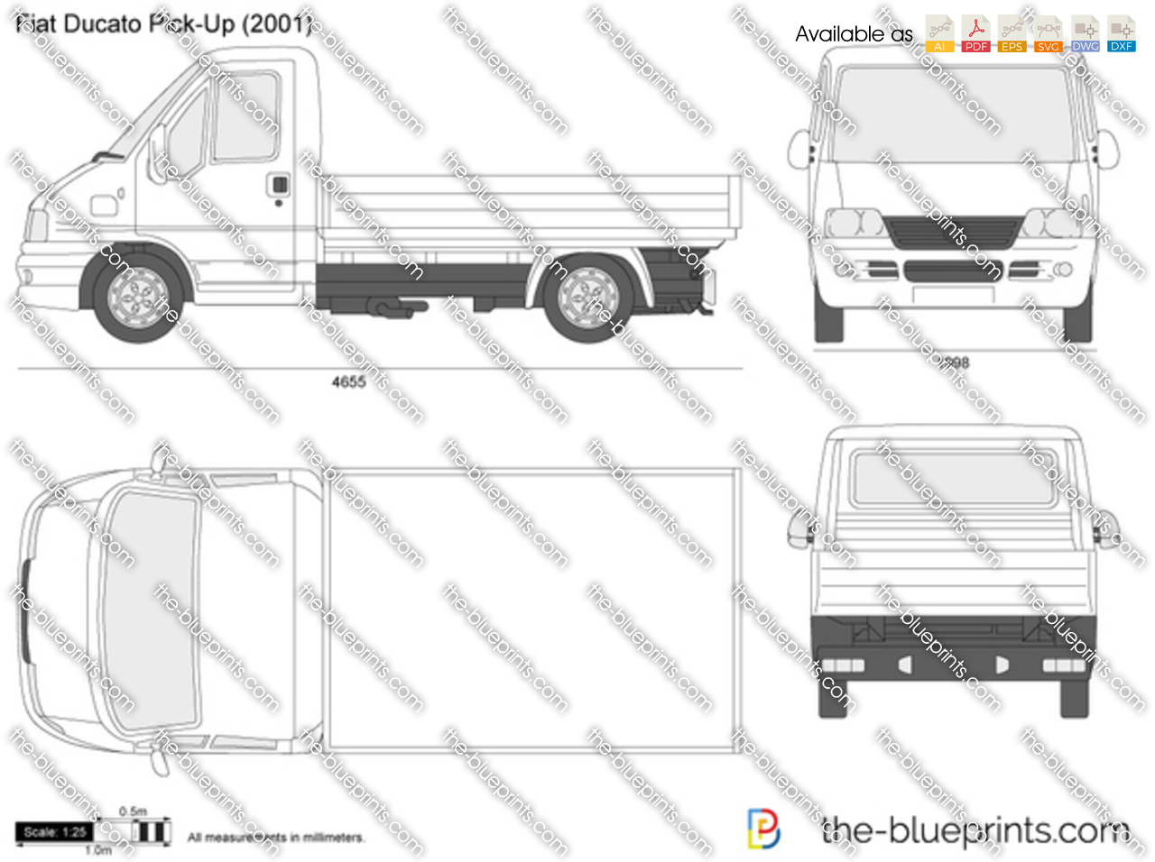 the vector drawing fiat ducato pick up. Black Bedroom Furniture Sets. Home Design Ideas
