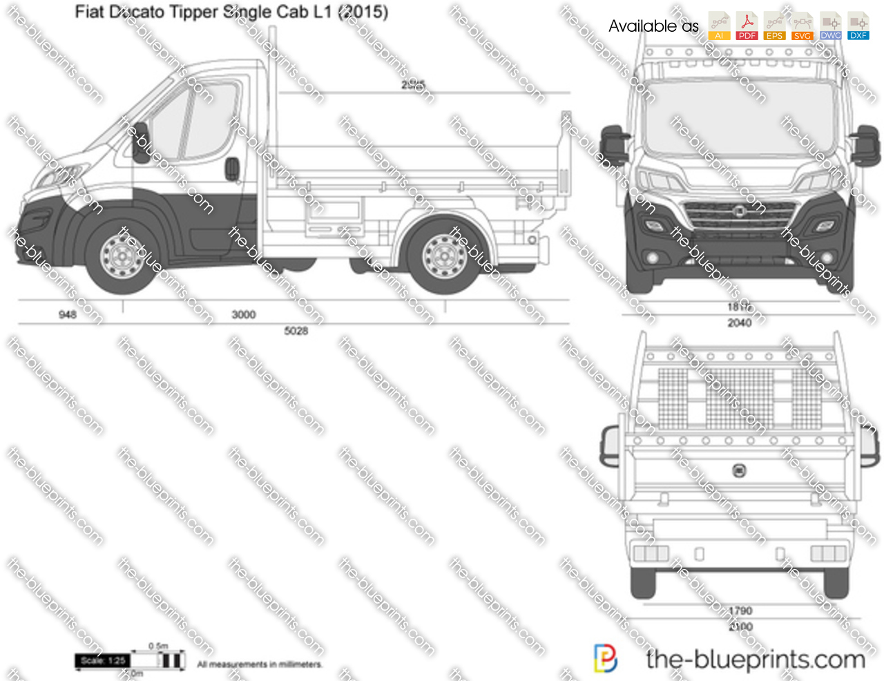 fiat ducato tipper single cab l1 vector drawing. Black Bedroom Furniture Sets. Home Design Ideas