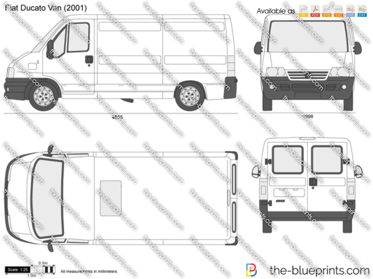 fiat ducato van vector drawing. Black Bedroom Furniture Sets. Home Design Ideas