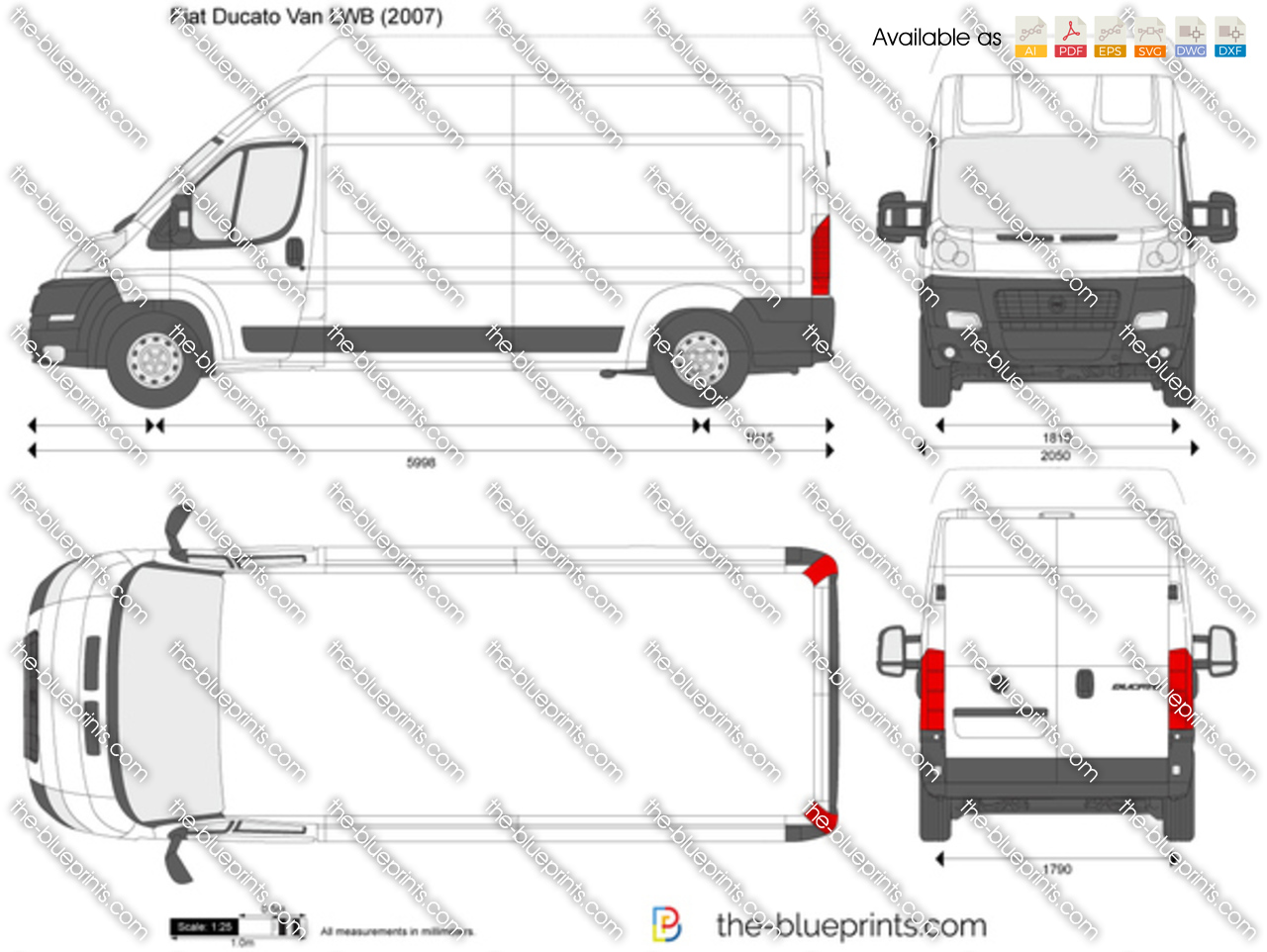 the vector drawing fiat ducato van lwb. Black Bedroom Furniture Sets. Home Design Ideas
