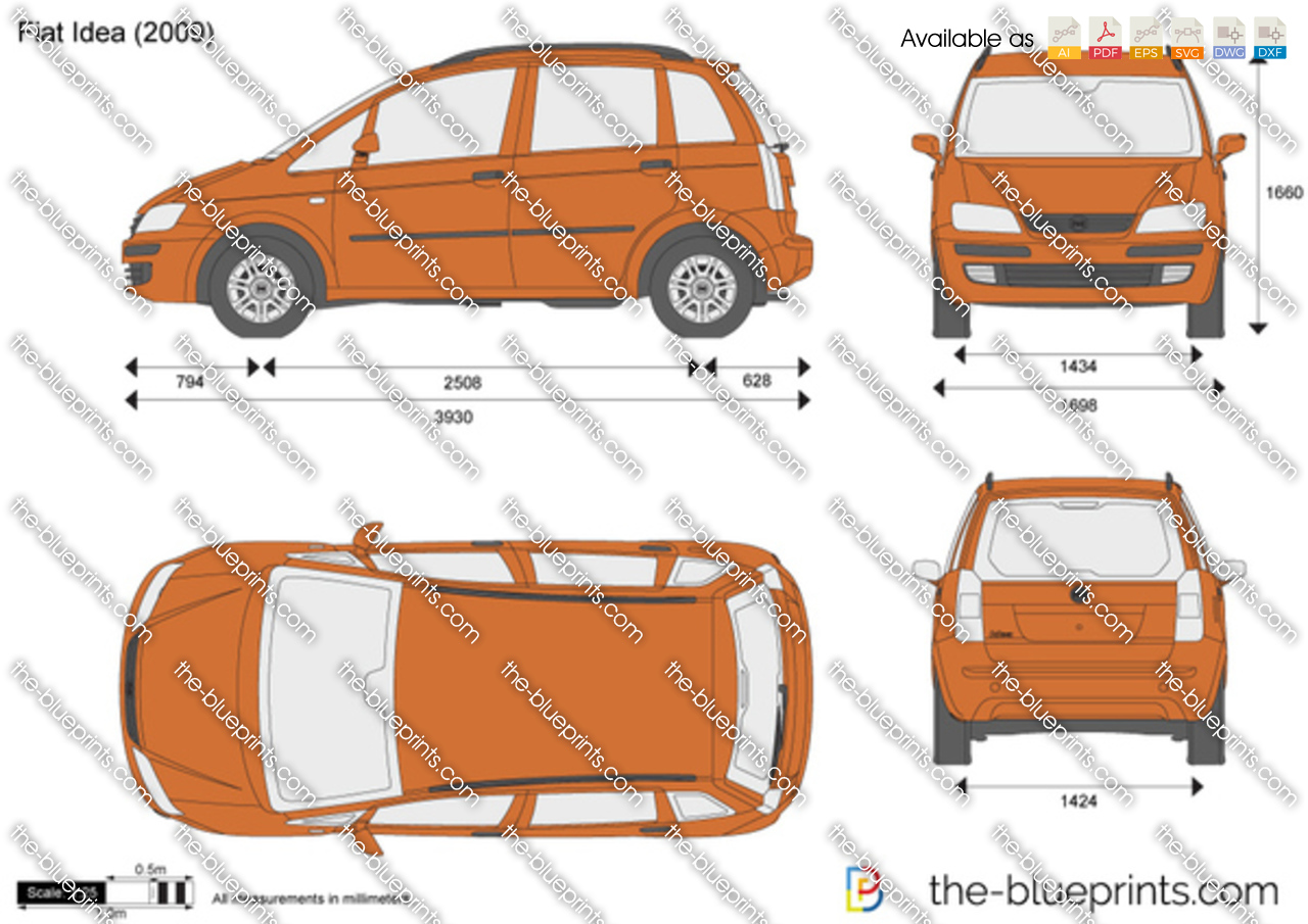 The vector drawing fiat idea for Dimensiones fiat idea