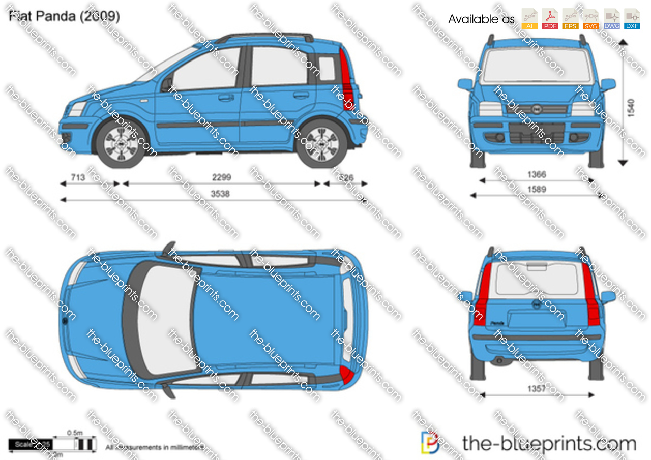 the vector drawing fiat panda. Black Bedroom Furniture Sets. Home Design Ideas