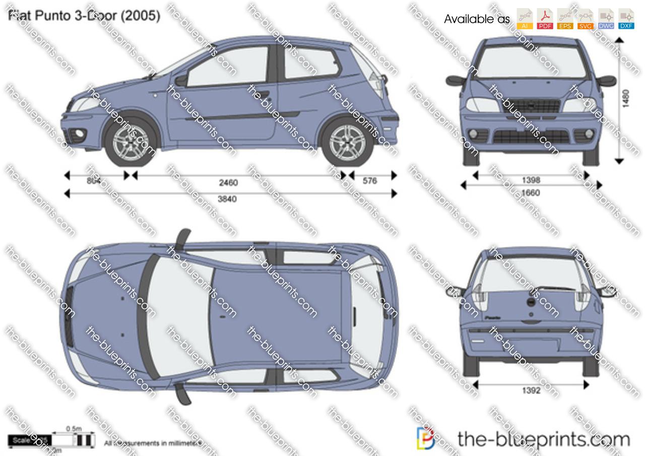 Fiat Punto 3 Door Vector Drawing