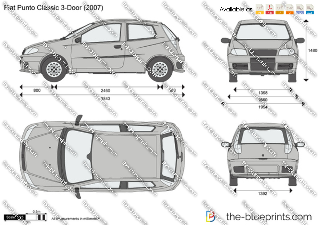 Fiat Punto Classic 3 Door Vector Drawing