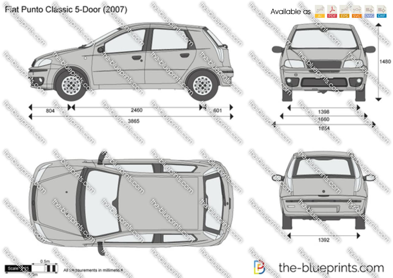 fiat punto classic 5 door vector drawing. Black Bedroom Furniture Sets. Home Design Ideas