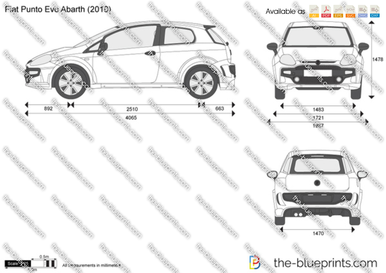 The Blueprints Com Vector Drawing Fiat Punto Evo Abarth