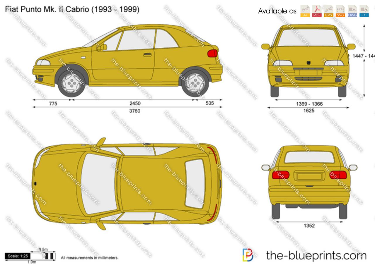 fiat punto mk ii cabrio vector drawing. Black Bedroom Furniture Sets. Home Design Ideas