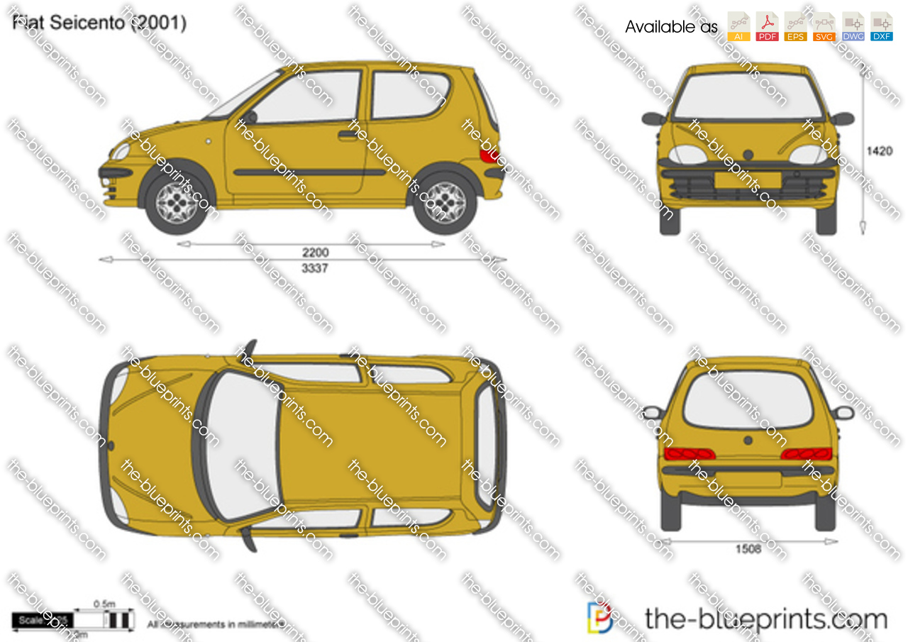 Fiat Seicento Vector Drawing