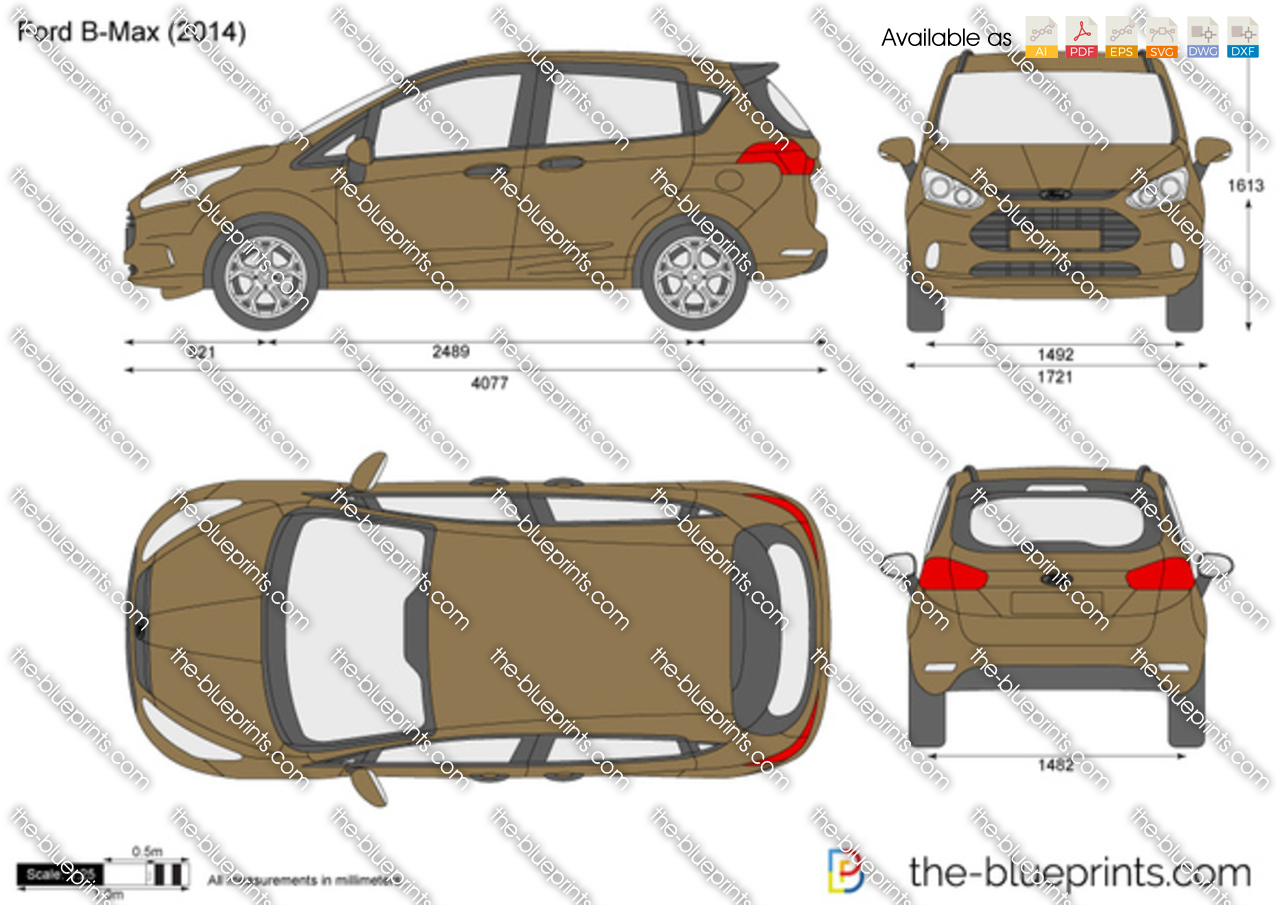 the vector drawing ford b max