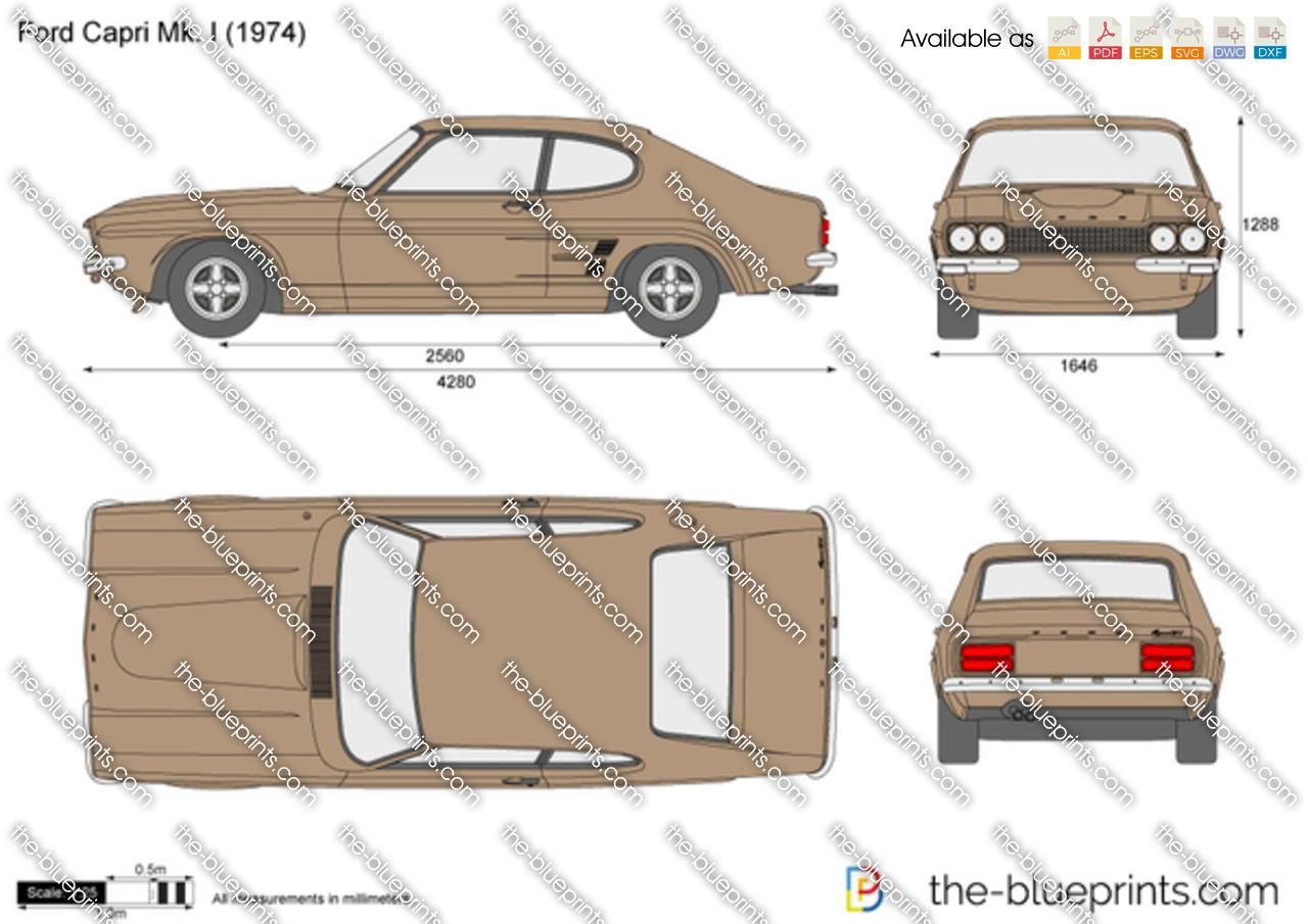 Ford Capri Mk I Vector Drawing