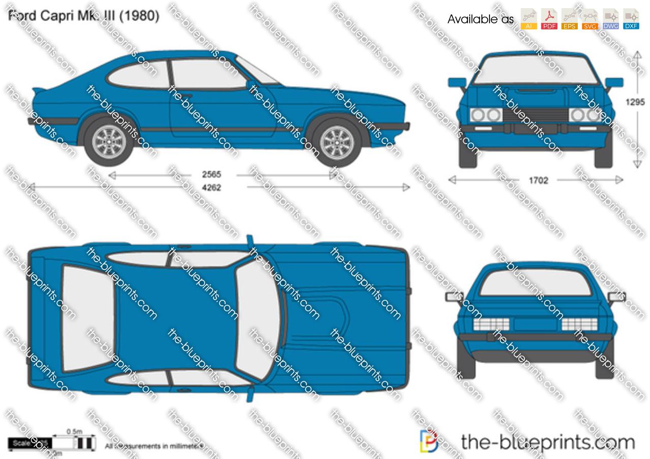 Ford Capri Mk Iii Vector Drawing