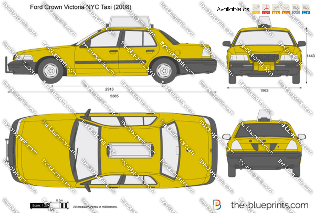 Ford Crown Victoria Nyc Taxi Vector Drawing