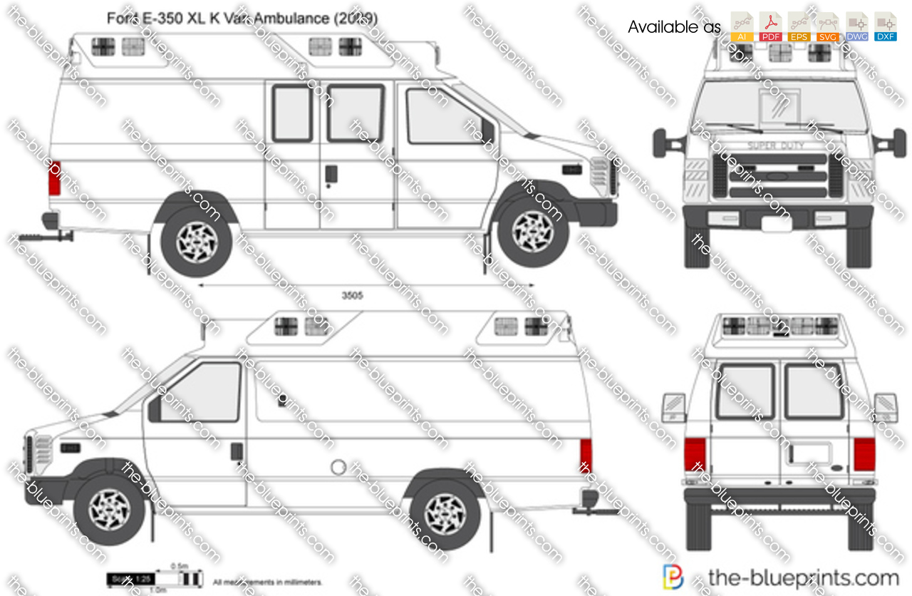 Ford E 350 Xl K Van Ambulance Vector Drawing Tail Light Wiring Diagram