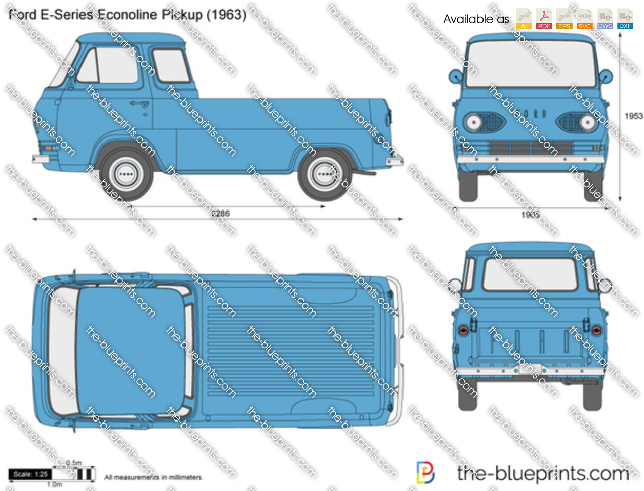 Ford E Series Econoline Pickup Vector Drawing