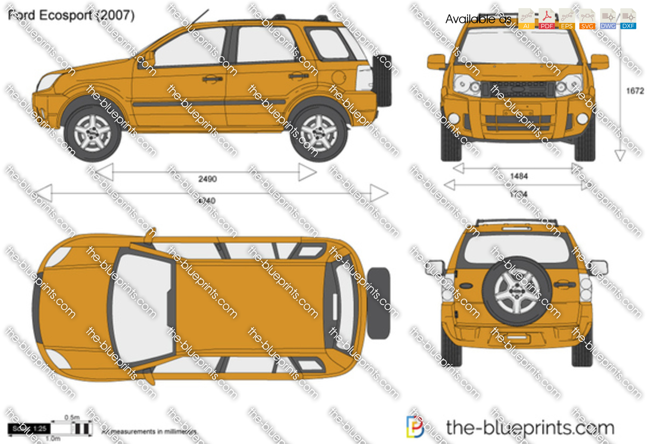 Ford Ecosport Vector Drawing
