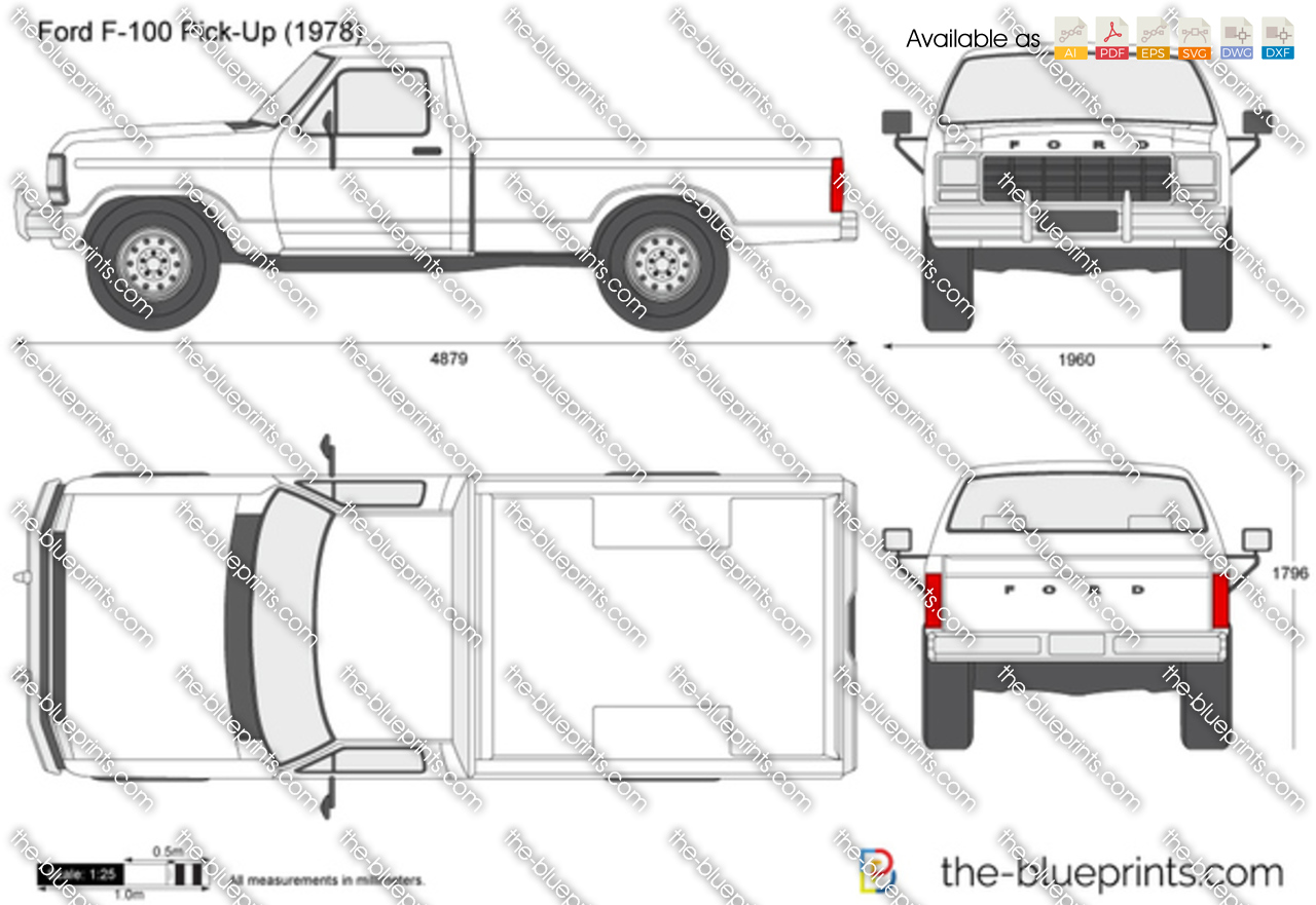 Ford F 100 Pick Up Vector Drawing
