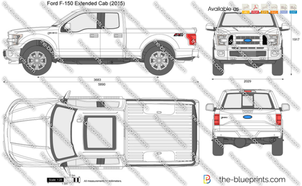 ford f 150 extended cab vector drawing. Black Bedroom Furniture Sets. Home Design Ideas