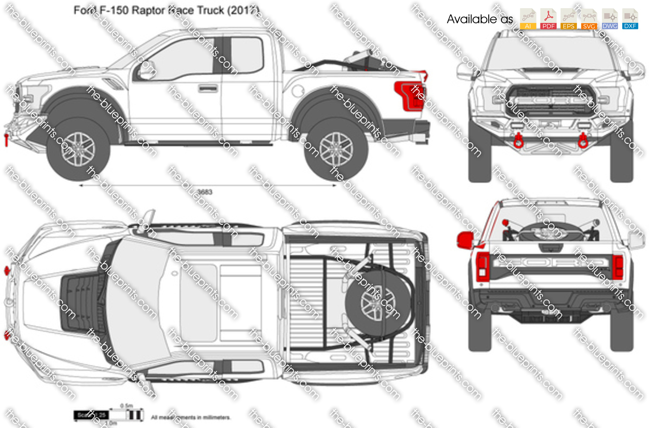 Ford F-150 Raptor Race Truck vector drawing