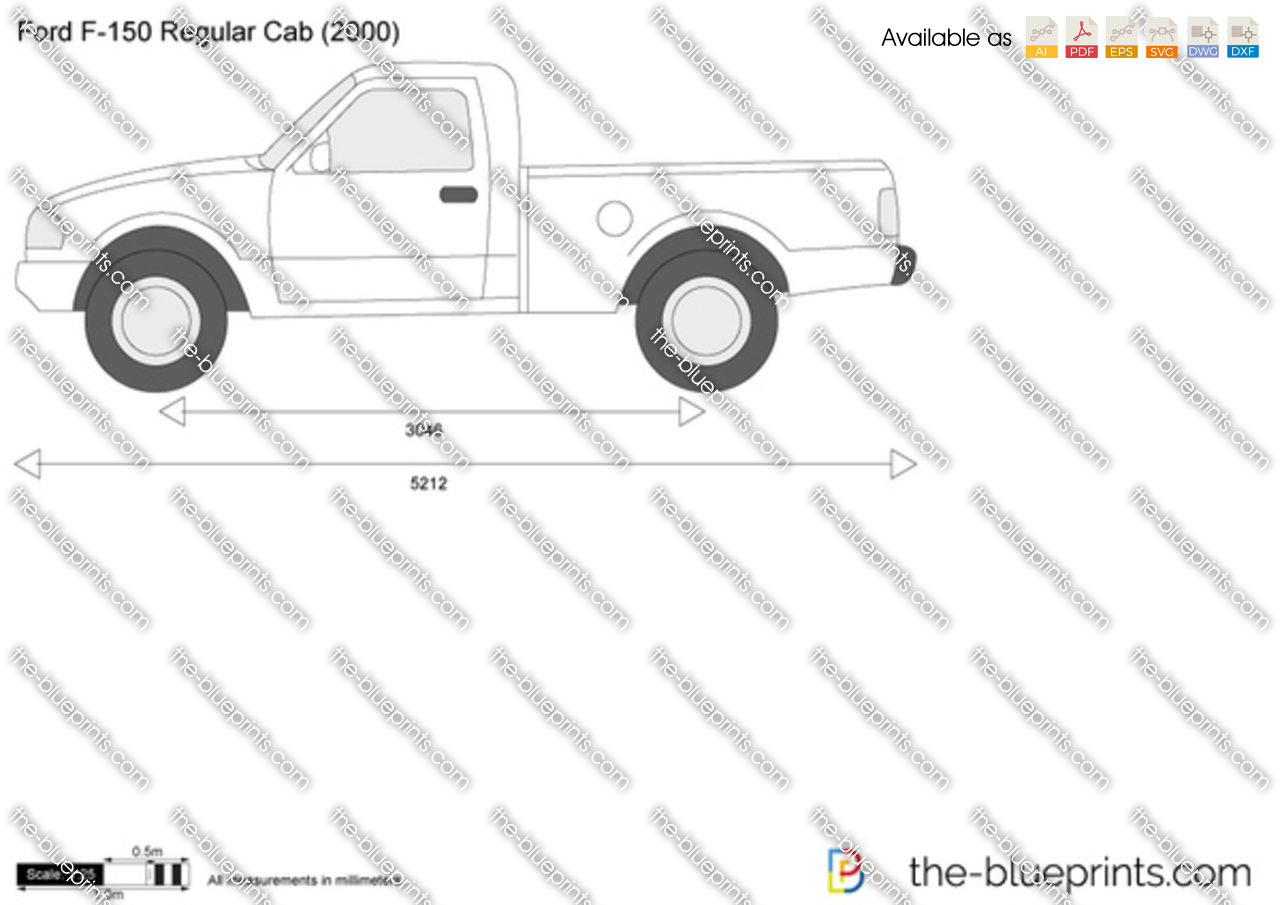 Ford F-150 Regular Cab vector drawing