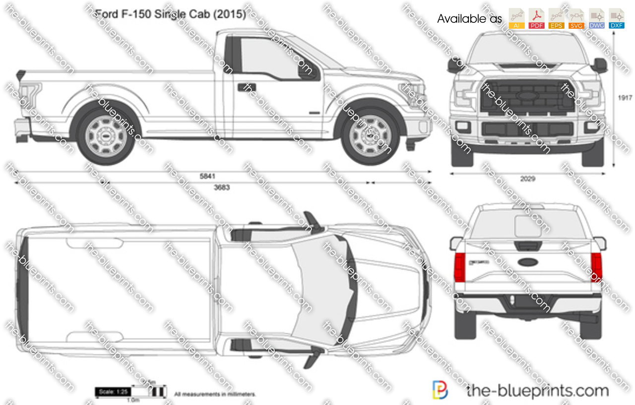 ford f 150 single cab vector drawing. Black Bedroom Furniture Sets. Home Design Ideas