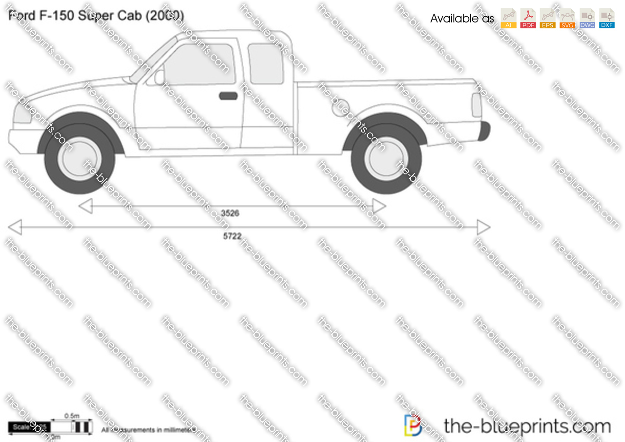 Ford F 150 Super Cab Vector Drawing