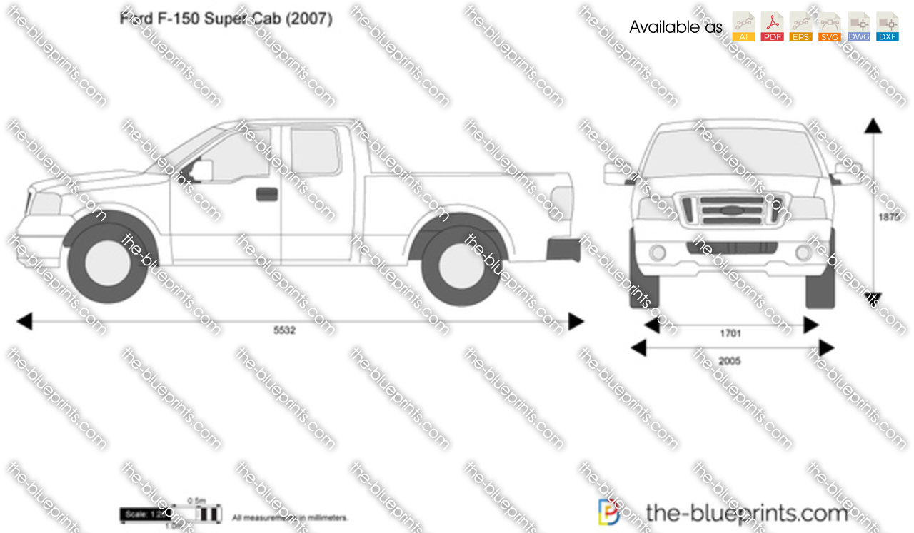 Ford Transit Connect >> The-Blueprints.com - Vector Drawing - Ford F-150 Super Cab
