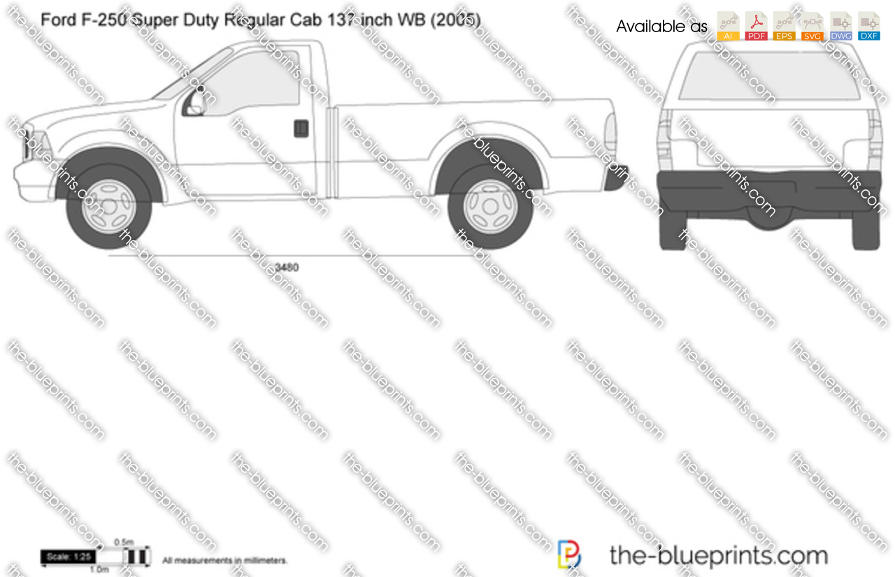 Ford F 250 Super Duty Regular Cab 137 Inch Wb Vector Drawing