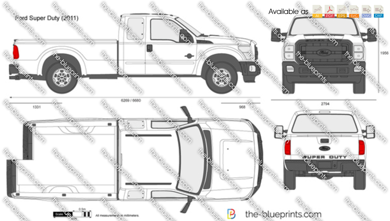 F250 Bumper Blueprints : Ford f super duty supercab lwb vector drawing