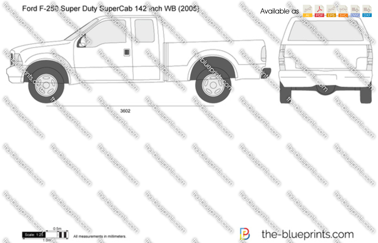 F250 Bumper Blueprints : Ford f super duty supercab swb inch wb vector drawing