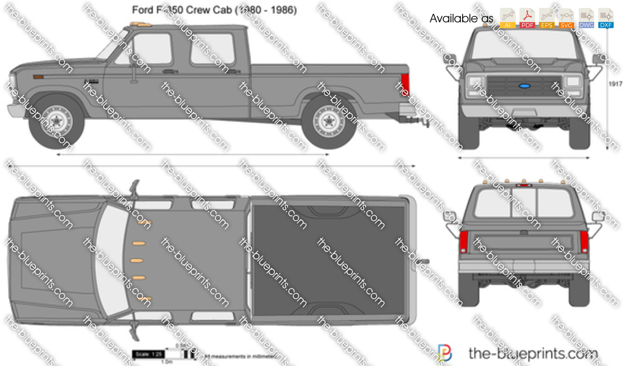 Ford F 350 Crew Cab Vector Drawing