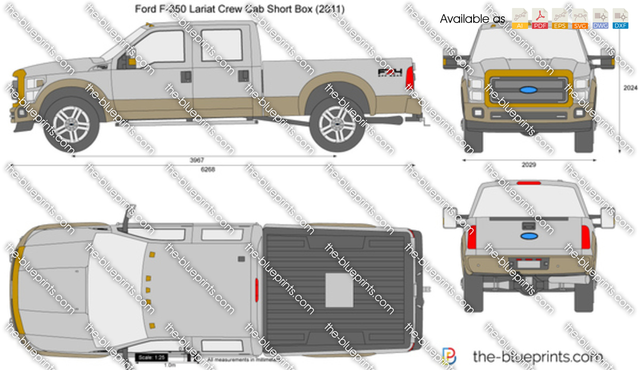 2014 Highlander For Sale >> Ford F-350 Lariat Crew Cab Short Box vector drawing