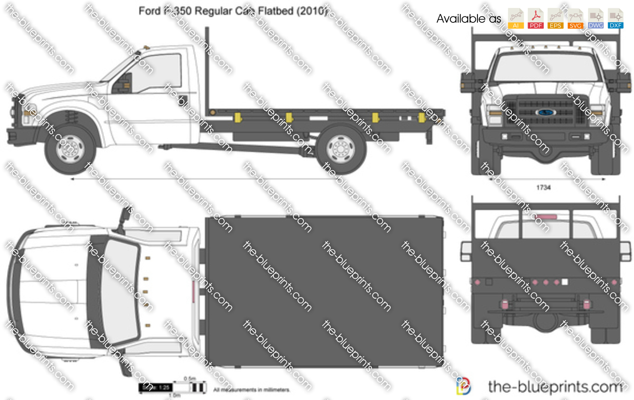 ford f 350 regular cab flatbed vector drawing. Black Bedroom Furniture Sets. Home Design Ideas
