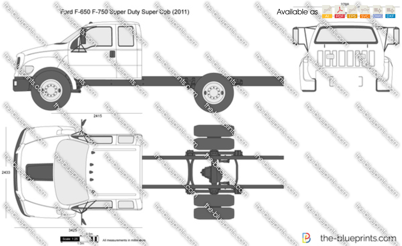 Ford F-650 F-750 Super Duty Super Cab vector drawing