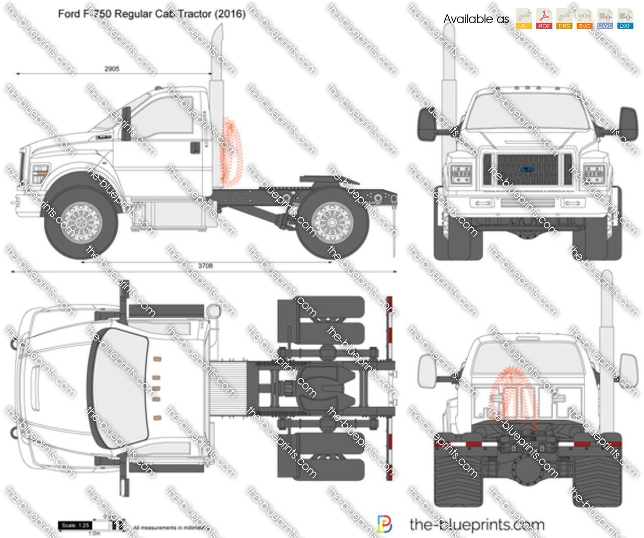 Ford F 750 Regular Cab Tractor Vector Drawing